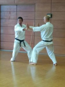 Miyakawa hanshi demonstrating with Richard Segissement (kyoshi).