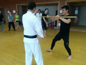 Miyakawa hanshi demonstrating transmission with finger against resistance.