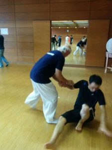 Hatta-san and a seminar participant practicing breaking balance (kuzushi).